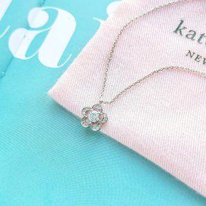 Jeweled Stencil Scallops Silver Mini Necklace